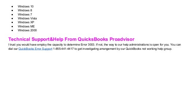 Quick books error code 3003 quickbooks error support