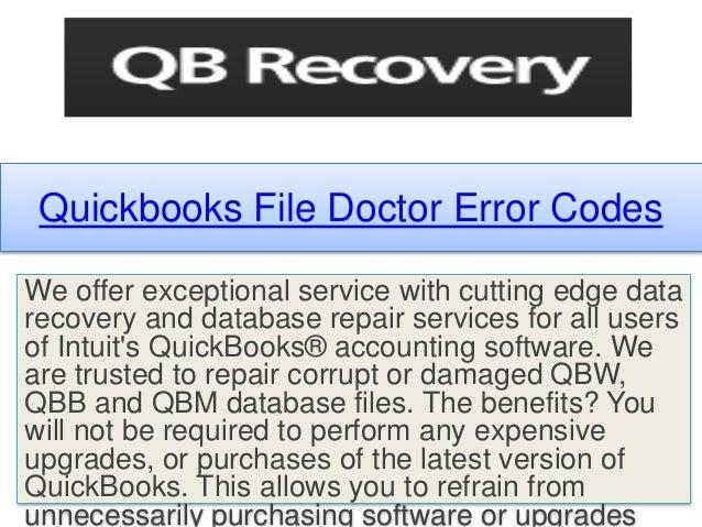 Quickbooks file doctor error codes