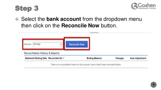 How to correct ending date for quickbooks online bank reconcilation