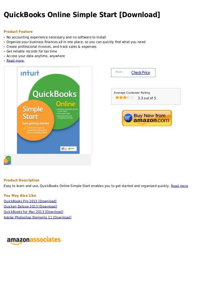 QuickBooks Online Simple Start [Download]Product Featureq   No accounting experience necessary and no software to installq...