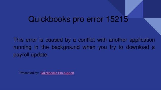 Quickbooks pro error 15215