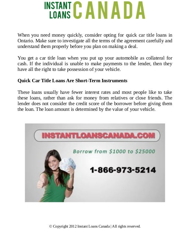 Quick Car Title Loans In Ontario Solution For Your Overflowing Bills