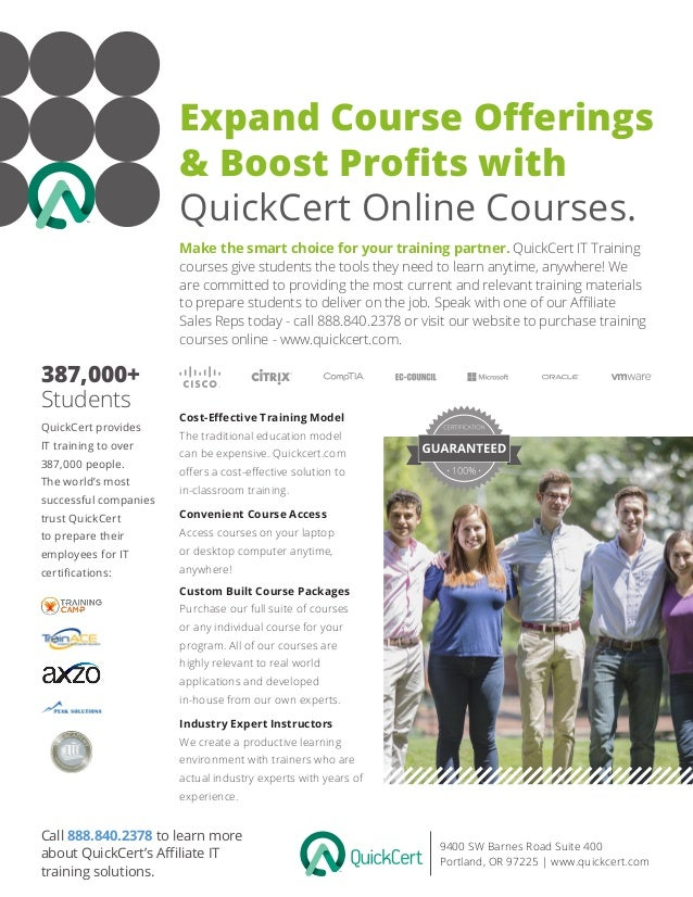 Expand Course Offerings & Boost Profits with QuickCert Online Courses. 9400 SW Barnes Road Suite 400 Portland, OR 97225 | ...