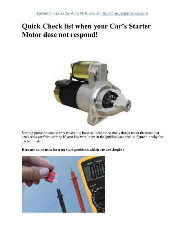 Starter Motor Problems >> Quick Check List When Your Car S Starter Motor Dose Not Respond