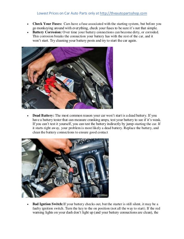Quick Check list when your Car's Starter Motor dose not respond!