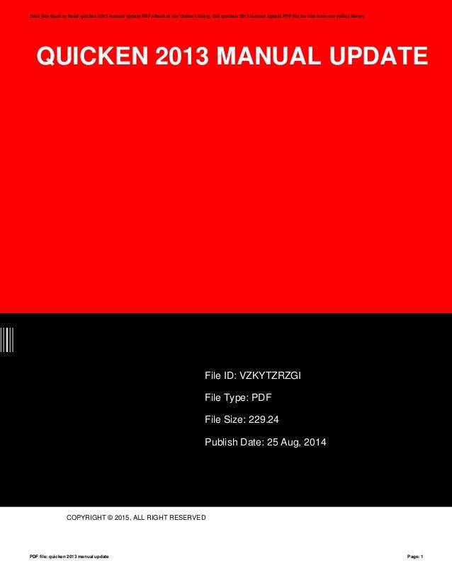 quicken 2013 manual update rh slideshare net Intuit Quicken 2013 quicken instruction manual 2013