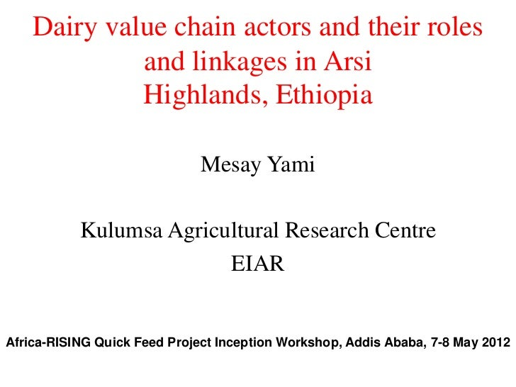 Dairy value chain actors and their roles             and linkages in Arsi             Highlands, Ethiopia                 ...