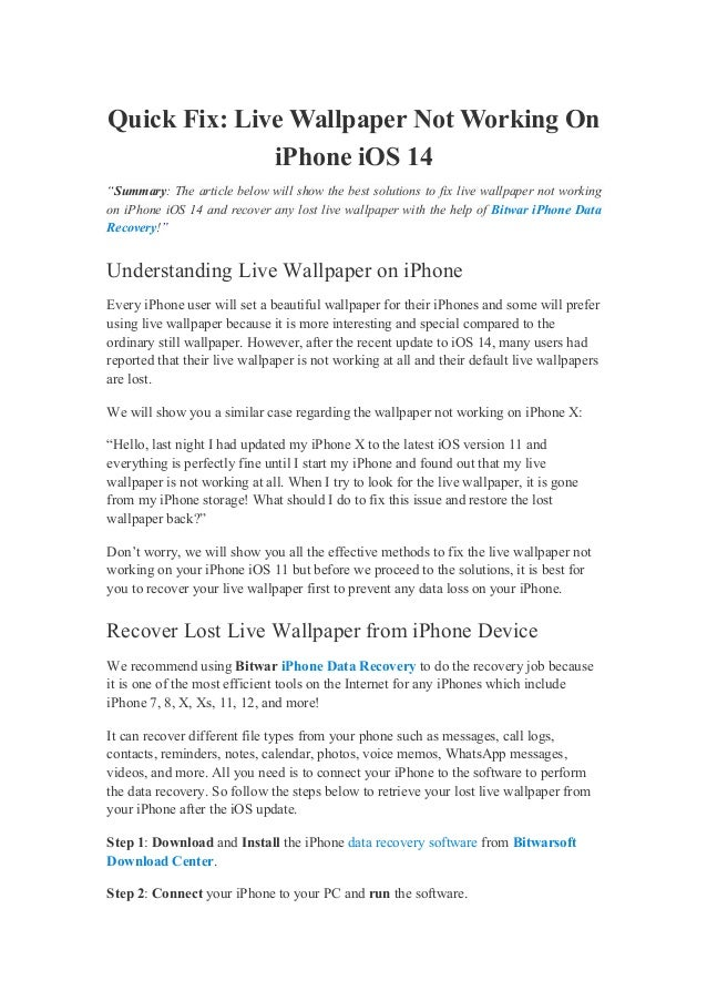 """Quick Fix: Live Wallpaper Not Working On iPhone iOS 14 """"Summary: The article below will show the best solutions to fix liv..."""