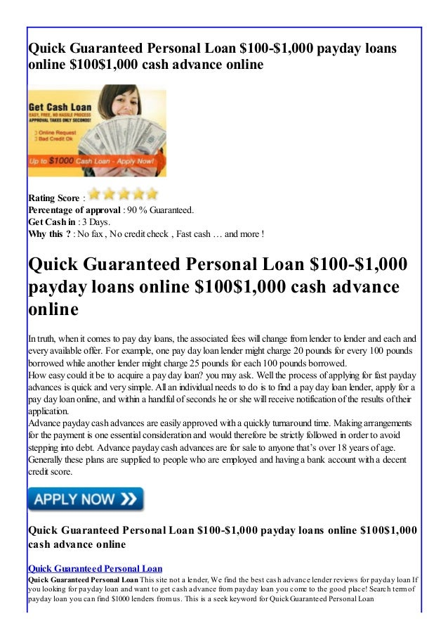 $100 Guaranteed Payday Loans