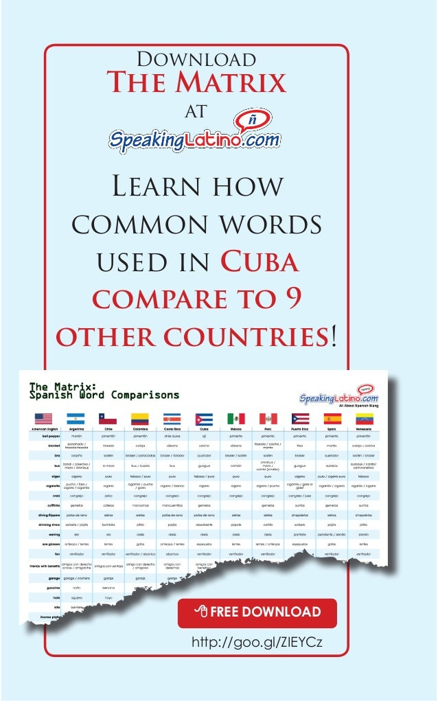 Download  The Matrix  at  Learn how  common words  used in Cuba  compare to 9  other countries!  8 FREE DOWNLOAD  http://g...
