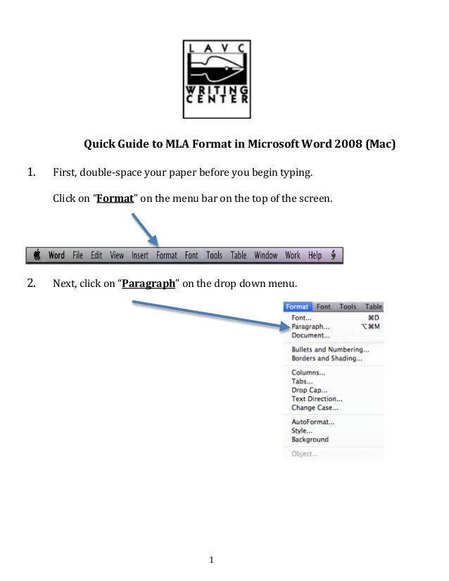 quick guide to mla format mac 08