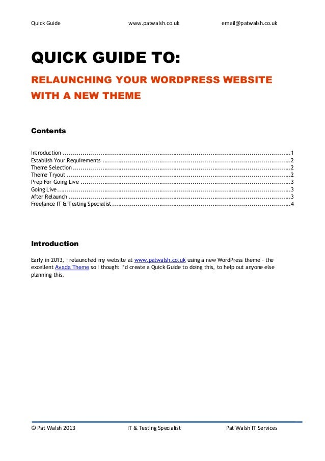 Quick Guide                                     www.patwalsh.co.uk                             email@patwalsh.co.ukQUICK G...