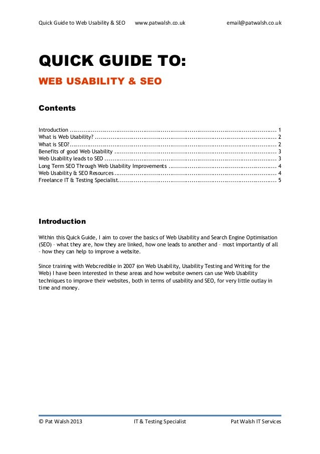 Quick Guide to Web Usability & SEO              www.patwalsh.co.uk                            email@patwalsh.co.ukQUICK GU...