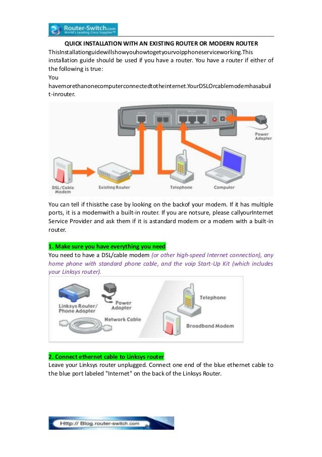 QUICK INSTALLATION WITH AN EXISTING ROUTER OR MODERN ROUTER ThisInstallationguidewillshowyouhowtogetyourvoipphoneservicewo...