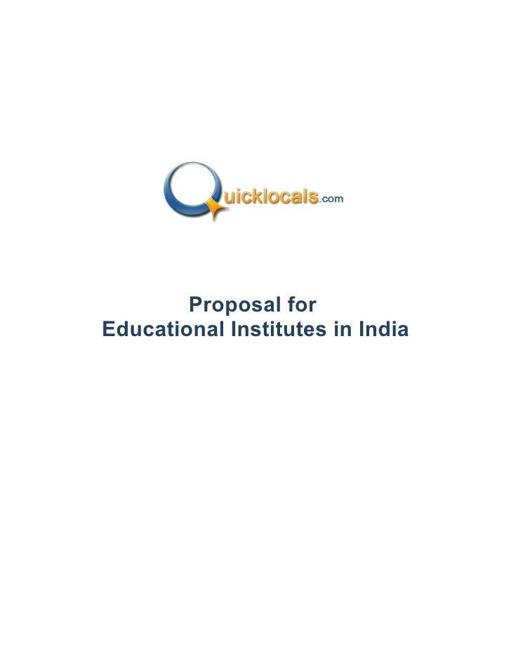 Proposal forEducational Institutes in India