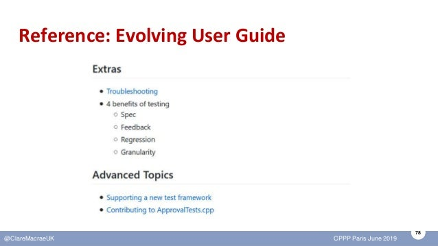 78 @ClareMacraeUK CPPP Paris June 2019 Reference: Evolving User Guide