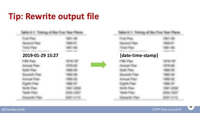 98 @ClareMacraeUK CPPP Paris June 2019 Tip: Rewrite output file 2019-01-29 15:27 [date-time-stamp]