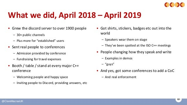 121 @ClareMacraeUK What we did, April 2018 – April 2019 • Grew the discord server to over 1900 people – 30+ public channel...