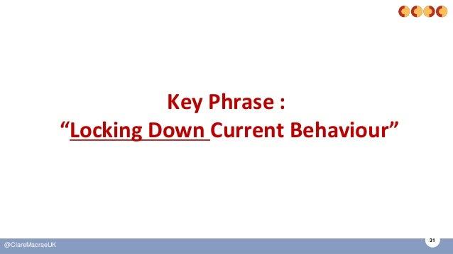 "31 @ClareMacraeUK Key Phrase : ""Locking Down Current Behaviour"""