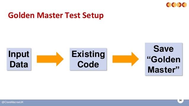"34 @ClareMacraeUK Golden Master Test Setup Input Data Existing Code Save ""Golden Master"""
