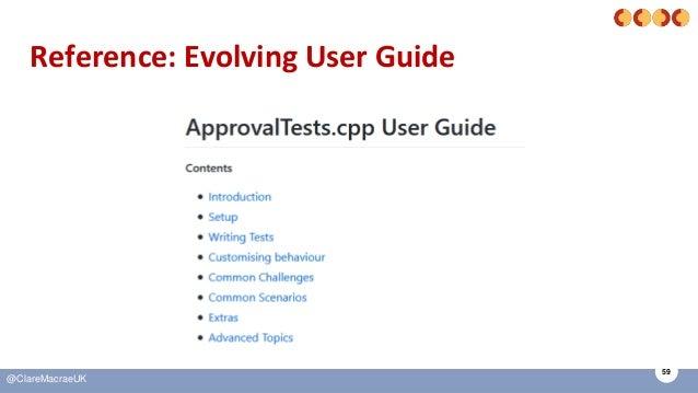 59 @ClareMacraeUK Reference: Evolving User Guide