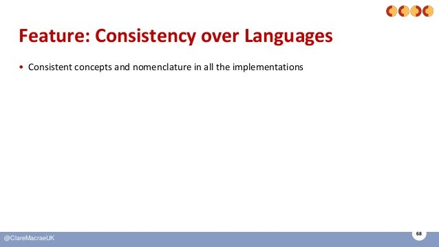 68 @ClareMacraeUK Feature: Consistency over Languages • Consistent concepts and nomenclature in all the implementations