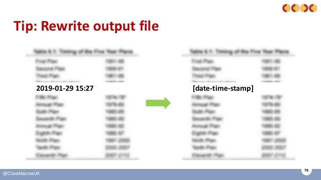 78 @ClareMacraeUK Tip: Rewrite output file 2019-01-29 15:27 [date-time-stamp]
