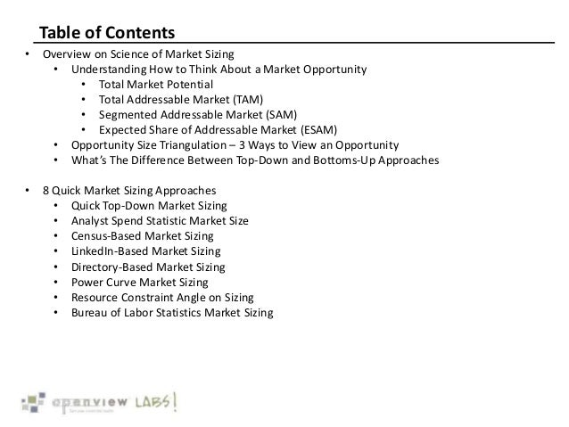 Table of Contents • Overview on Science of Market Sizing • Understanding How to Think About a Market Opportunity • Total M...