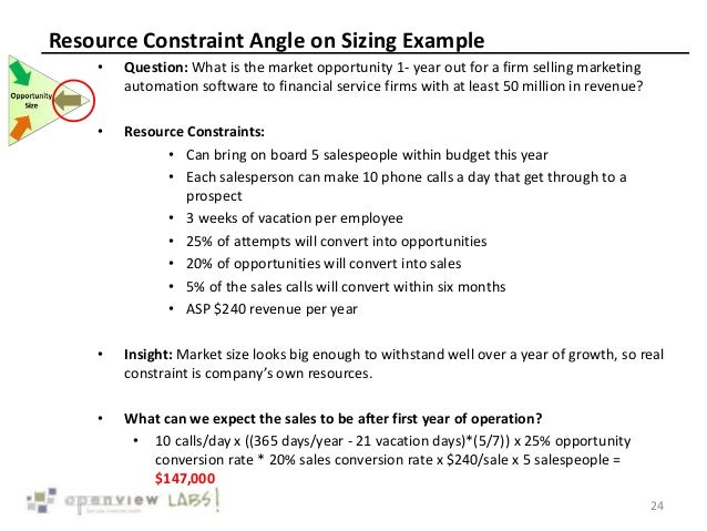 Resource Constraint Angle on Sizing Example • Question: What is the market opportunity 1- year out for a firm selling mark...