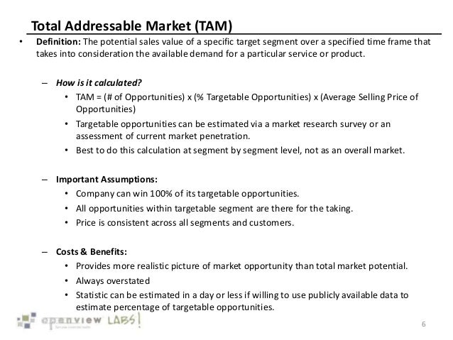 Total Addressable Market (TAM) • Definition: The potential sales value of a specific target segment over a specified time ...