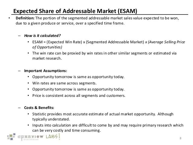 Expected Share of Addressable Market (ESAM) • Definition: The portion of the segmented addressable market sales value expe...