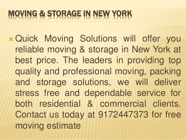 QUICK MOVING SOLUTIONS