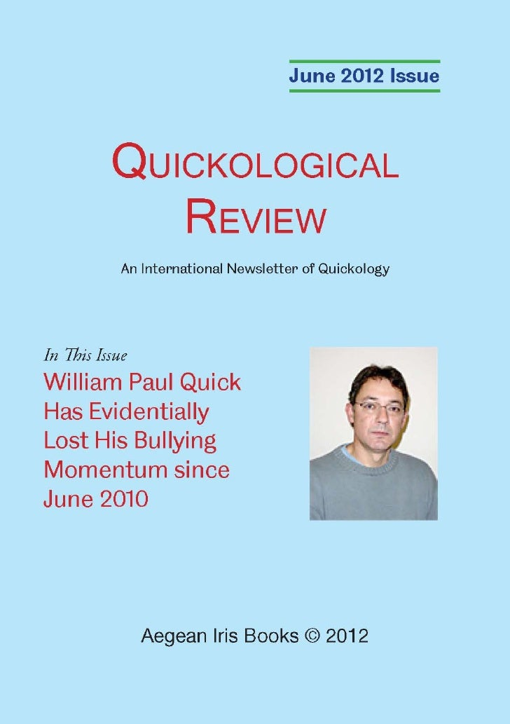 Quickological Review June 2012 Issue by Aegean Iris Books