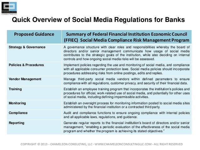 Quick Overview of Social Media Regulations for BanksProposed Guidance Summary of Federal Financial Institution Economic Co...