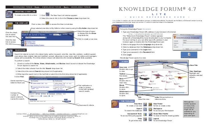 KNOWLEDGE FORUM • Basic • KNOWLEDGE FORUM • Basic • KNOWLEDGE FORUM            CREATING A VIEW LINK                       ...
