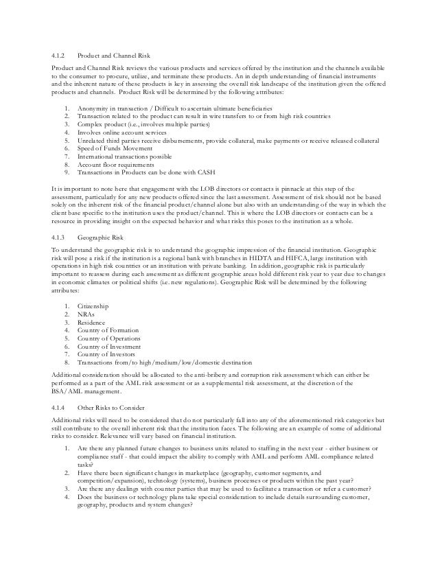 Quick Reference Guide to BSAAML Risk Assessment – Product Risk Assessment