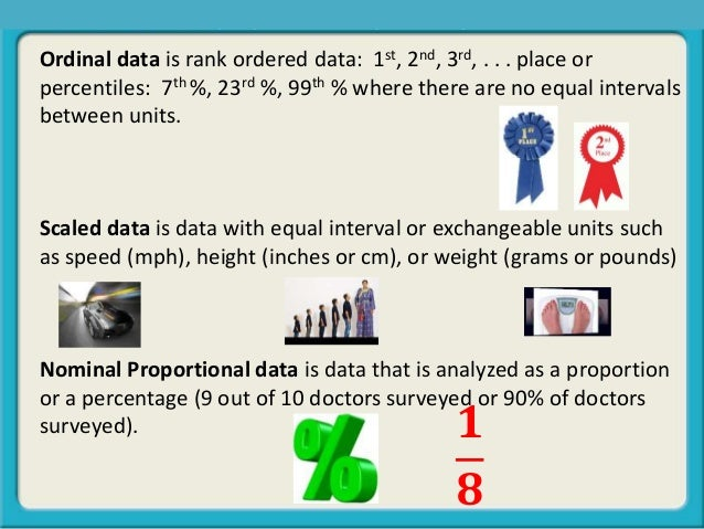 Ordinal data is rank ordered data: 1st, 2nd, 3rd, . . . place or percentiles: 7th %, 23rd %, 99th % where there are no equ...