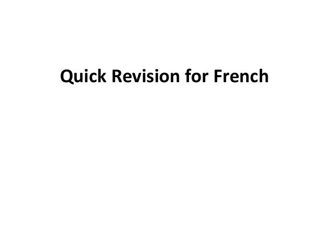 Quick Revision For French 10th Ssc Exam