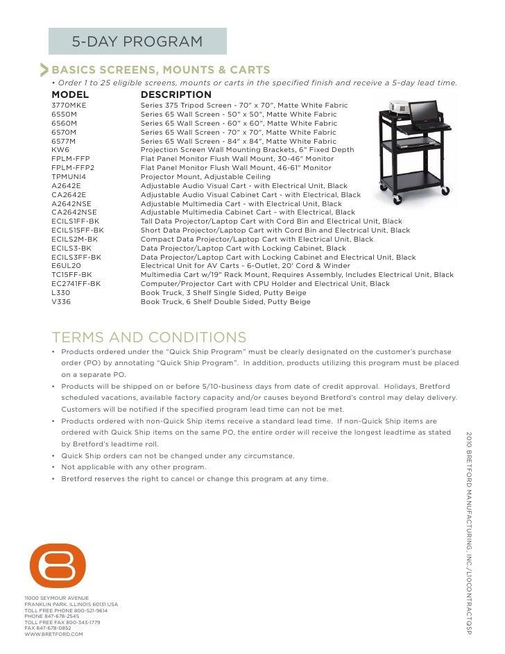 5-DAY PROGRAM       > BASICS SCREENS, MOUNTS & CARTS          • Order 1 to 25 eligible screens, mounts or carts in the spe...