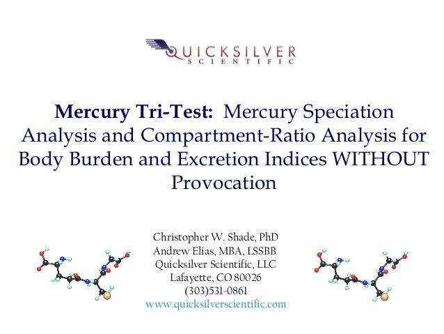 Mercury Tri-Test: Mercury Speciation Analysis and Compartment-Ratio Analysis for Body Burden and Excretion Indices WITHOUT...