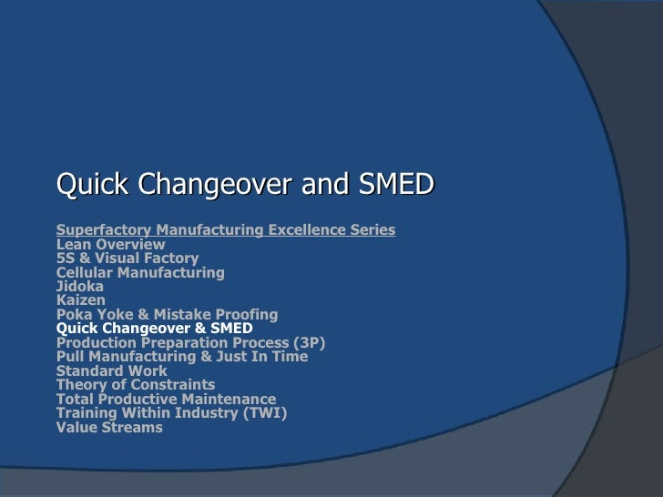 Quick Changeover and SMED Superfactory Manufacturing Excellence Series Lean Overview 5S & Visual Factory Cellular Manufact...