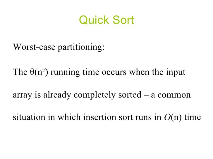 Write a recurrence for the running time of insertion sort algorithm