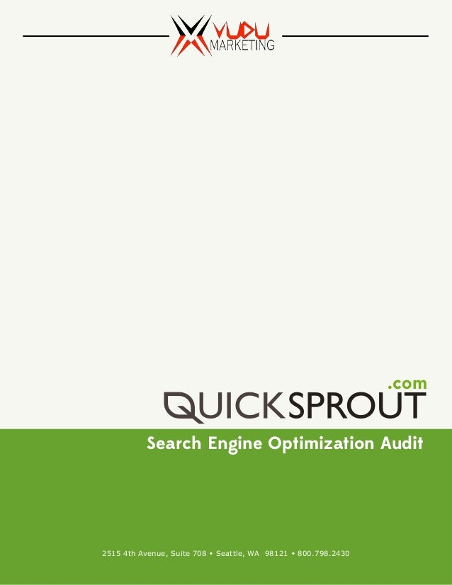 follow quicksprout audit report created by vudu marketing