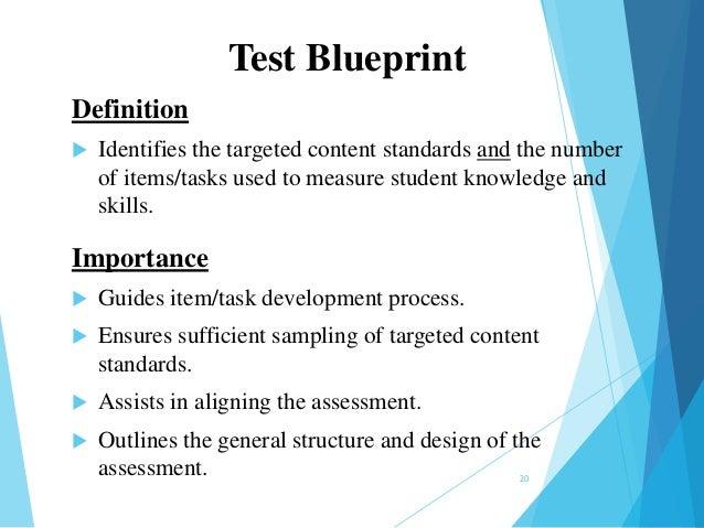 Qs m1 designing the assessment 22jan14 step 3 test blueprint 19 20 test blueprint definition malvernweather Images