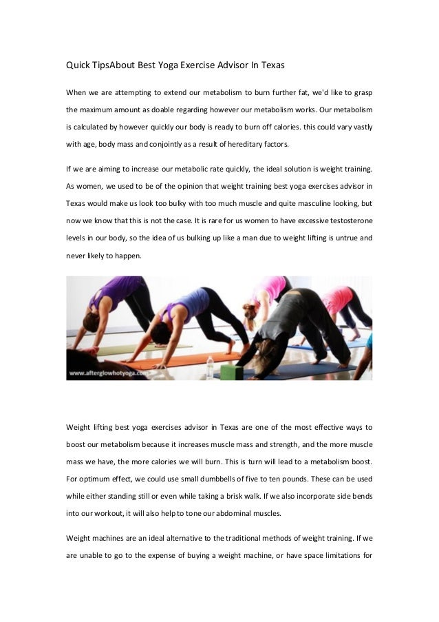 Quick TipsAbout Best Yoga Exercise Advisor In Texas When We Are Attempting To Extend Our Metabolism