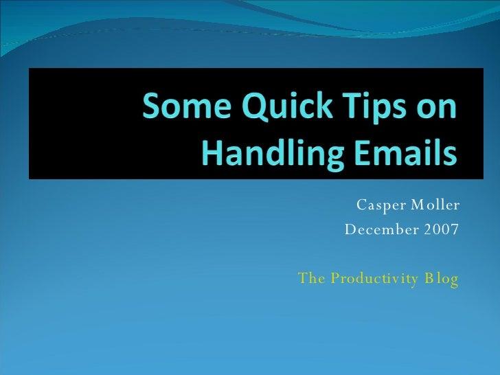 Casper Moller December 2007 The Productivity Blog