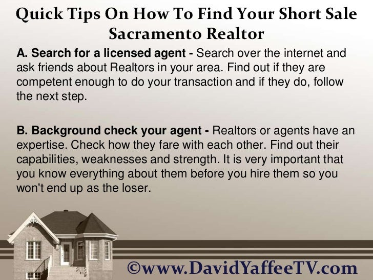 Quick Tips On How To Find Your Short Sale Sacramento Realtor