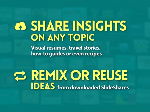 Share insights on any topic  Visual resumes, travel stories, how-to guides or even recipes  remix or reuse  ideas from dow...