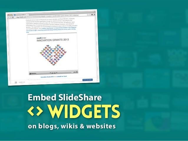 Embed SlideShare  widgets on blogs, wikis & websites