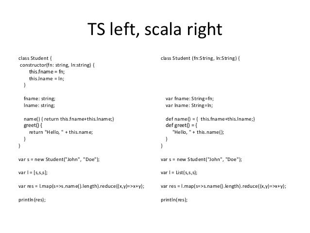 TS left, scala right class Student { constructor(fn: string, ln:string) { this.fname = fn; this.lname = ln; } fname: strin...